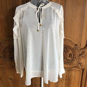 New Michael Kors white gold star shirt blouse XL